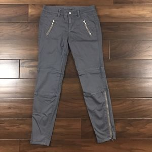 J Brand Gray Agnes Satin Moto Skinny Pants Zippers